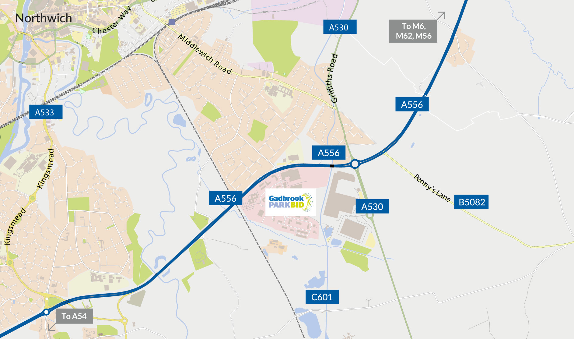 Gadbrook Park Getting Here Map